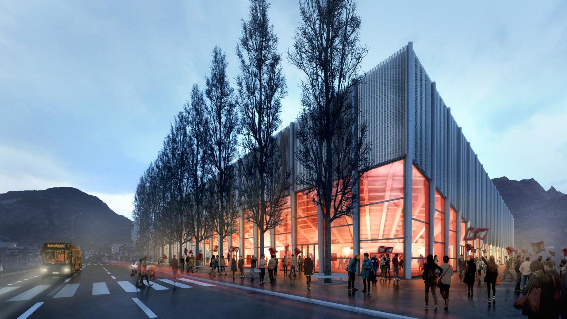 Eisstadion Lonza Arena Visp (Visualisierung, Projekt im Bau)