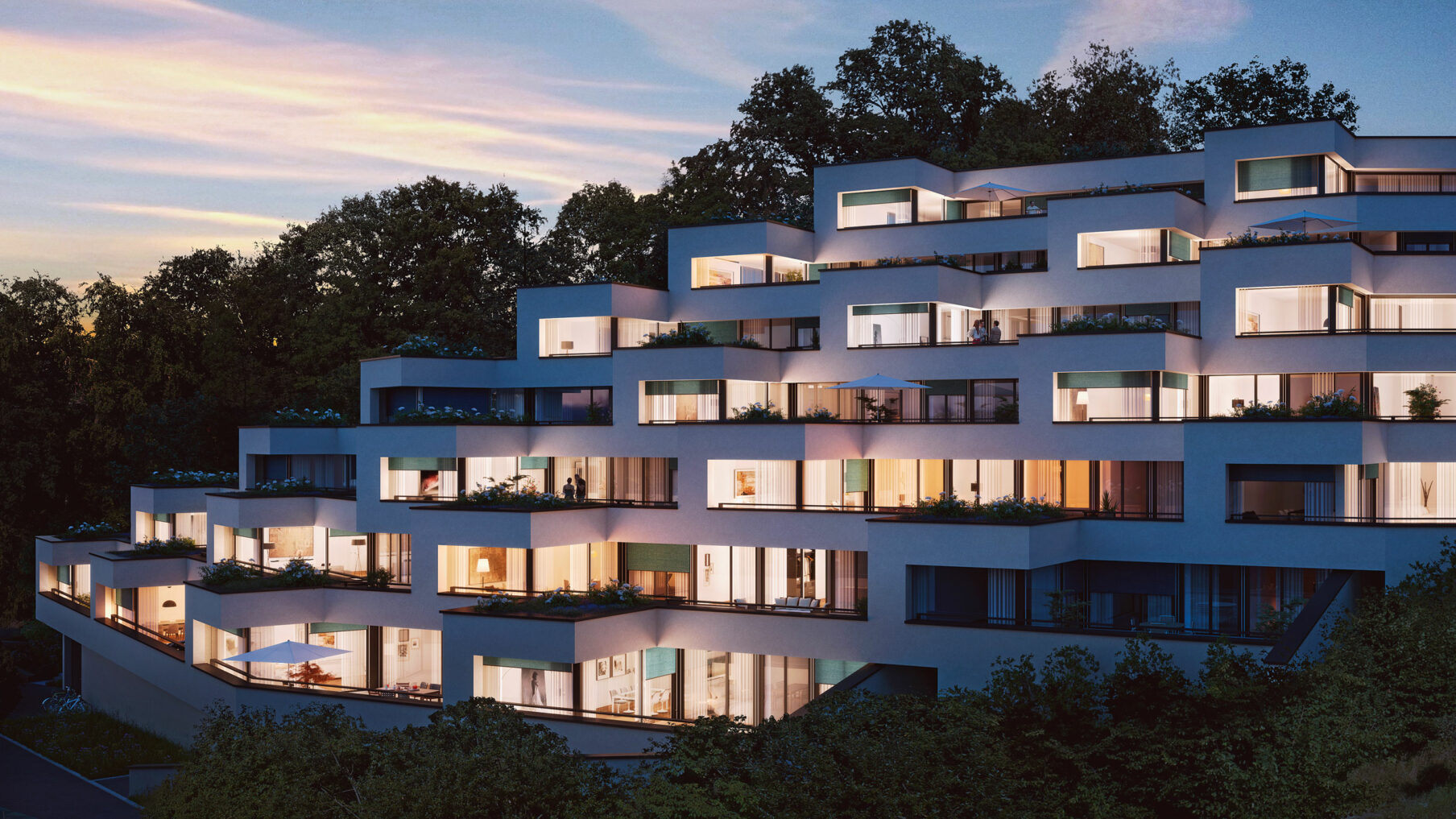 Plateaux de Berne – Visualisierung Abendansicht