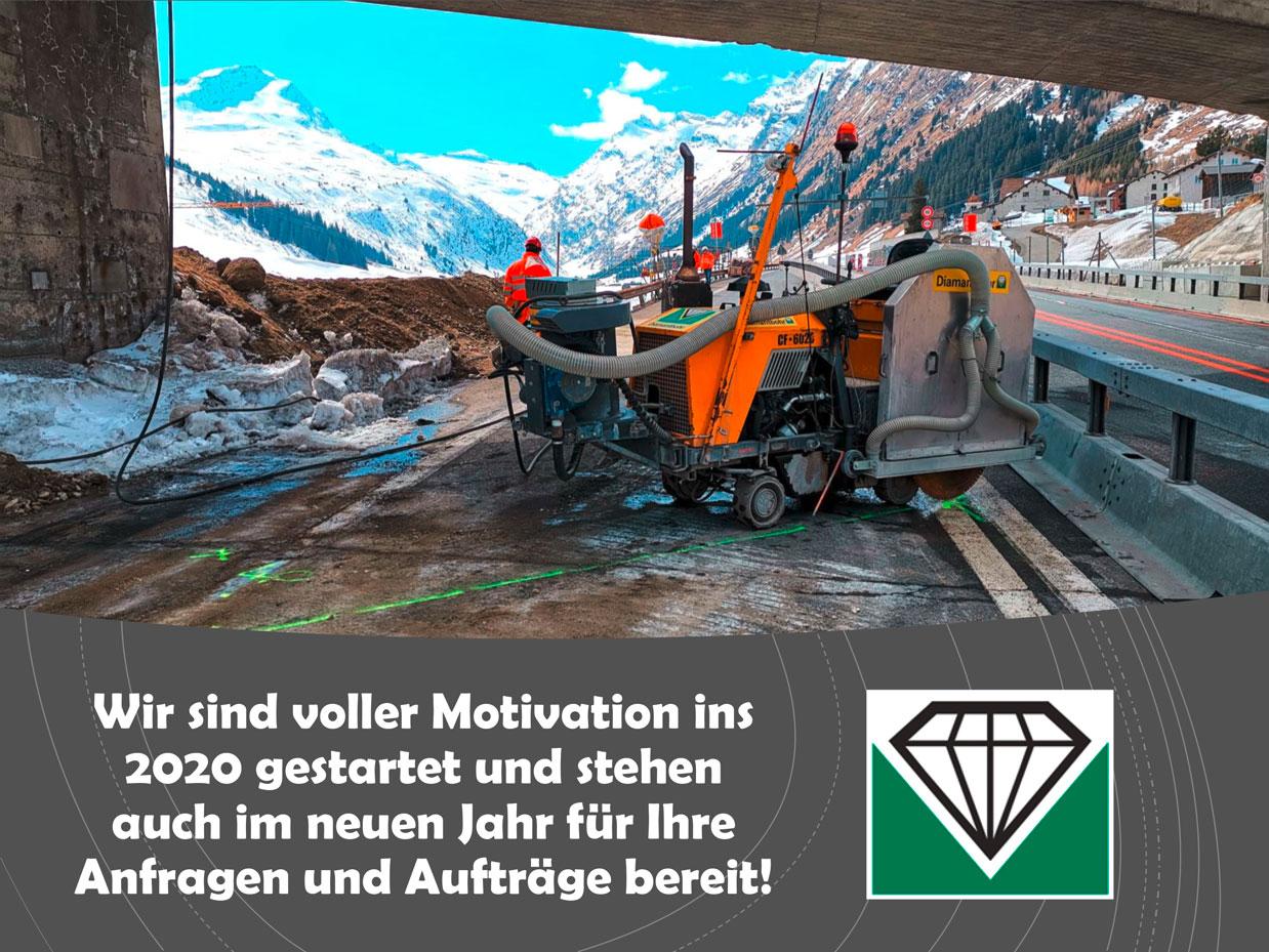 Bild von Diamantbohr Arbeiten in den Schweizer Alpen.