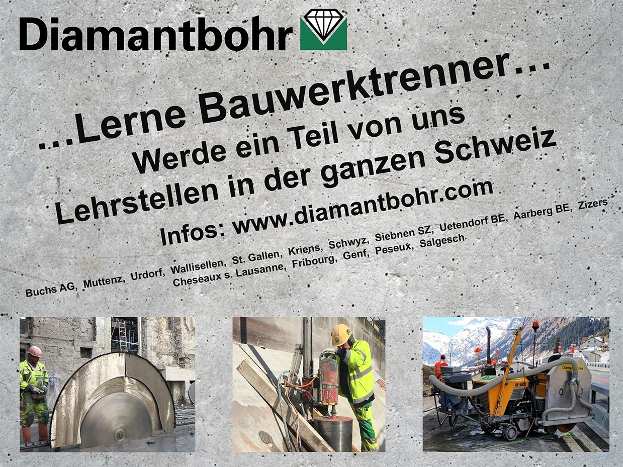 Diamantbohr AG, Lehrstelle, Lehrstellen, Bauwerktrenner, toller Beruf, Beruf im Baunebengewerbe, Bauberuf,